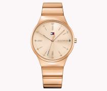 Rotgoldplattierte Armbanduhr Aus Stahl