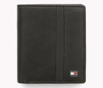 Dreifach faltbares Leder-Portemonnaie mit Streifen