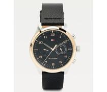 Uhr mit Kontrast-Lünette und Lederarmband