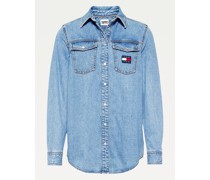 Relaxed Fit Jeanshemd mit Tommy-Badge