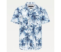 Regular Fit Kurzarm-Hemd mit Palmen-Print