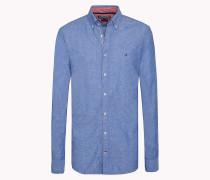 Tailliertes Hemd aus Baumwoll-Leinen-Popeline