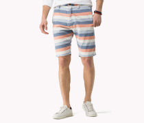 Gestreifte Shorts Aus Baumwoll-leinen