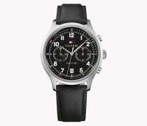 Uhr aus Edelstahl mit Lederarmband