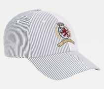 Gestreifte Cap mit aufgesticktem Wappen