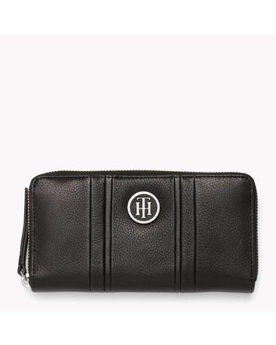tommy hilfiger damen portemonnaie mit rundum rei verschluss aus genarbtem leder reduziert. Black Bedroom Furniture Sets. Home Design Ideas