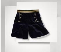 Samt-shorts Im Marinelook