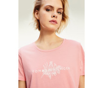 Blätterprint-T-Shirt aus Bio-Baumwolle