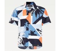 Kurzarm-Hemd mit Palmenprint im Color Block