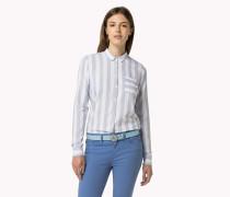 Tailliertes Baumwollhemd Mit Streifenmuster