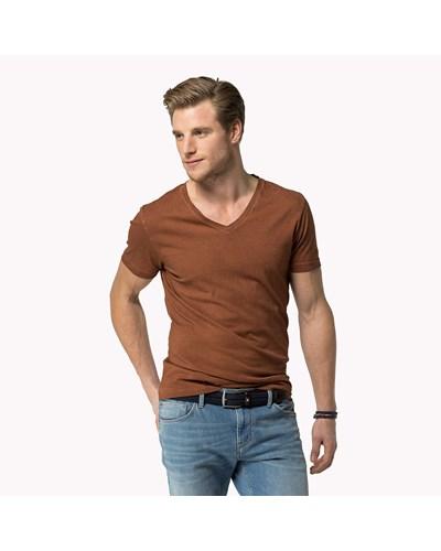 tommy hilfiger herren st ckgef rbtes t shirt mit v. Black Bedroom Furniture Sets. Home Design Ideas