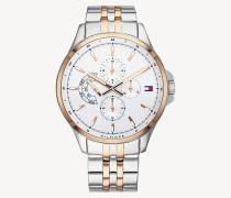 Zweifarbige Edelstahl-Uhr
