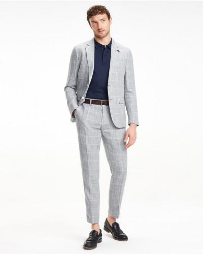 Leinen-Anzug mit Fensterkaro-Muster