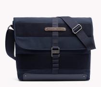 Messenger-Bag aus Baumwoll-Twill mit Klappe