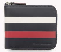 Viereckiges Leder-Portemonnaie mit Streifen
