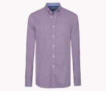 Slim Fit Baumwoll-hemd Mit Dobby-webmuster