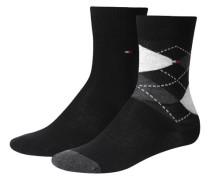 Mädchen und Jungen Socken Doppelpack, Schwarz