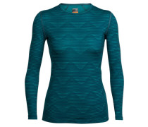 Damen Shirt Oasis Long Sleeve Crewe Diamond Line Langarm, Grün