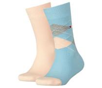 Mädchen und Jungen Socken Doppelpack, Blau