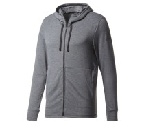 Herren Sweatjacke Workout Full Zip Hood Langarm, Grau