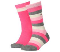 Kindersocken Kids Basic Stripes im Doppelpack, pink