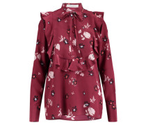 Damen Seiden-Bluse Langarm, Rot