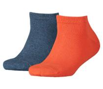 Mädchen und Jungen Sneakersocken Doppelpack, Orange