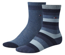 Kindersocken Kids Basic Stripes im Doppelpack, Blau