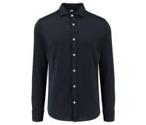 Herren Jersey-Hemd Langarm, blau