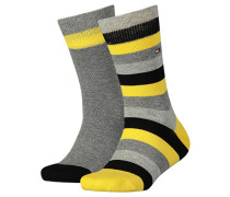 Kindersocken Kids Basic Stripes im Doppelpack, Gelb