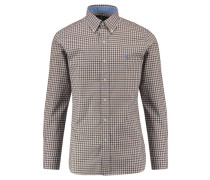 Herren Button-Down-Hemd Slim Fit Langarm, weiss / braun