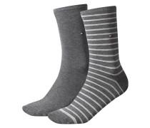 Damen Socken Stripe Zweierpack, Grau