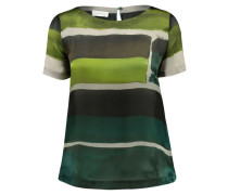 Damen Seiden-Bluse Kurzarm, Grün