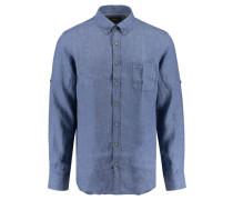 Herren Leinen-Hemd Comfort Fit Langarm, Blau