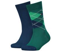 Mädchen und Jungen Socken Doppelpack, Grün