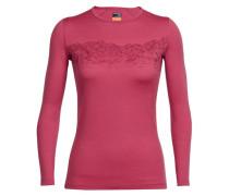 Damen Shirt Oasis Long Sleeve Crewe Sky Sunset Langarm, Rot