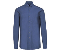 Herren Hemd Modern Fit Langarm, Blau