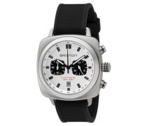 Herren Armbanduhr Clubmaster Sport Stahl - Chronograph weißes Ziffernblatt, Weiß