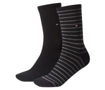 Damen Socken Stripe Zweierpack, Schwarz