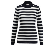 Damen Pullover Stripe Mockneck, Blau