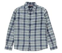 Jungen Hemd Indigo Twill Check Shirt Regular Fit Langarm, Blau