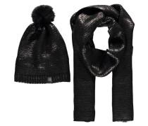 Damen Mütze und Schal, Schwarz