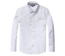 Jungen Baby-Hemd Solid Oxford Langarm, Weiß