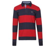 Herren Poloshirt The Original Barstripe Heavy Rugger Regular Fit Langarm, Rot