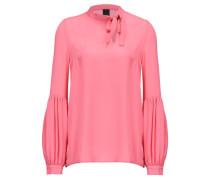 Damen Seiden-Bluse Langarm, pink