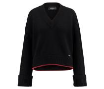 Damen Pullover, schwarz/rot