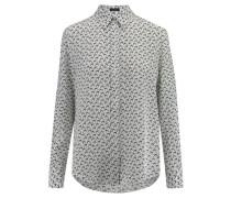 Damen Seiden-Bluse New Garcon Langarm, Weiß