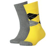 Mädchen und Jungen Socken Doppelpack, Gelb