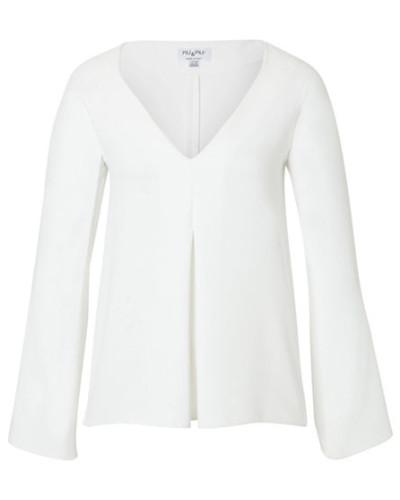 Damen Bluse Langarm, Weiß