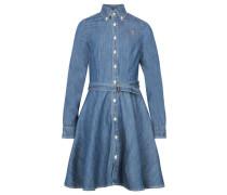 Mädchen Hemdkleid Langarm, blue
